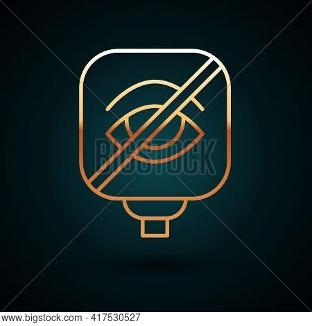 Gold Line Blindness Icon Isolated On Dark Blue Background. Blind Sign. Vector