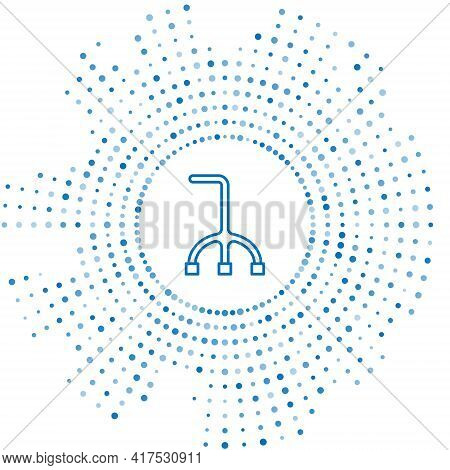 Blue Line Walking Stick Cane Icon Isolated On White Background. Abstract Circle Random Dots. Vector