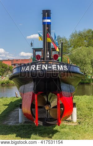 Haren, Germany - May 09, 2020: Stern Of A Tugboat At The Maritime Museum In Haren, Germany