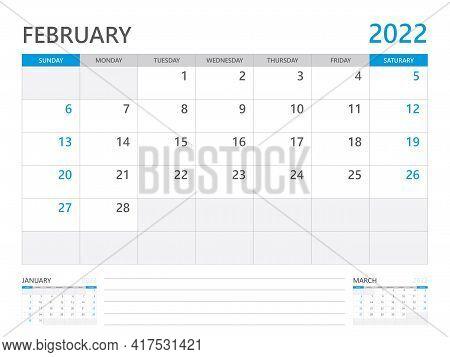 February 2022 Year, Calendar Planner 2022 And Set Of 12 Months,  Week Start On Sunday. Desk Calendar