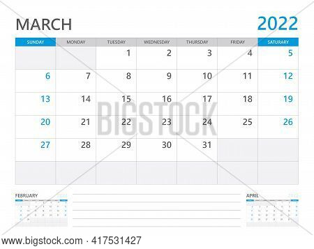 March 2022 Year, Calendar Planner 2022 And Set Of 12 Months,  Week Start On Sunday. Desk Calendar 20