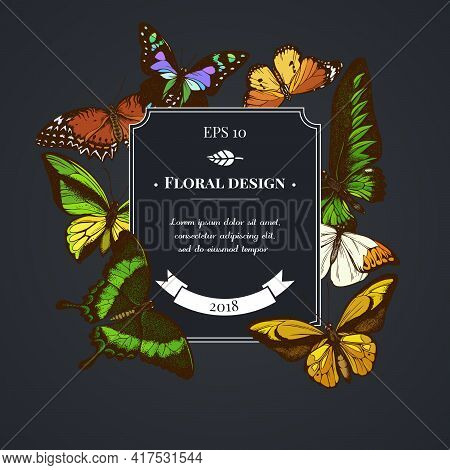 Dark Badge Design With Red Lacewing, Wallace S Golden Birdwing, Purple Spotted Swallowtail, Great Or