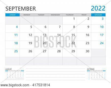 September 2022 Year, Calendar Planner 2022 And Set Of 12 Months,  Week Start On Sunday. Desk Calenda