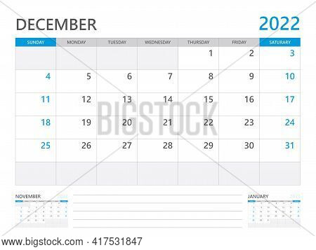 December 2022 Year, Calendar Planner 2022 And Set Of 12 Months,  Week Start On Sunday. Desk Calendar