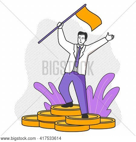 Successful Leader. Happy Businessman With A Flag Standing On Coins Stack.