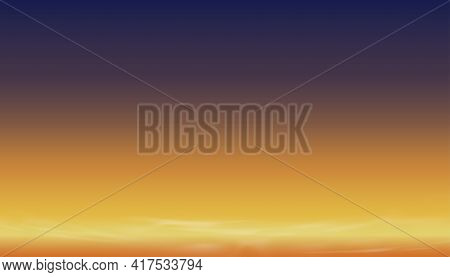 Sunset Dusk Sky In Evening With Orange,yellow And Dark Purple And Blue Colour,dramatic Twilight Land