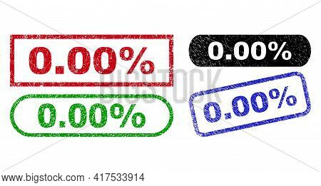 0.00 Percent Grunge Seal Stamps. Flat Vector Scratched Stamps With 0.00 Percent Slogan Inside Differ