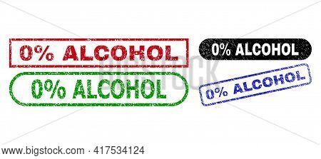 0 Percent Alcohol Grunge Watermarks. Flat Vector Grunge Watermarks With 0 Percent Alcohol Slogan Ins