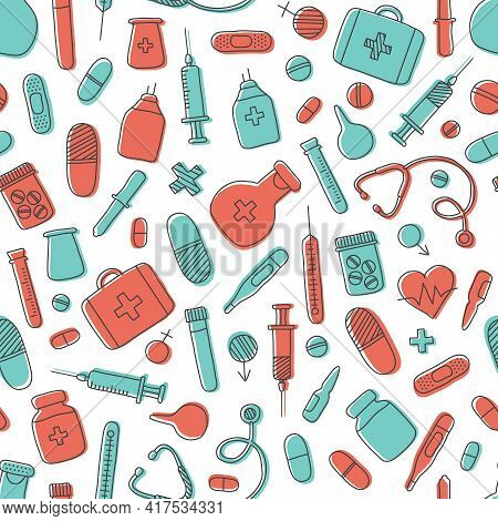 Medicine Vector Seamless Pattern Hand Drawn, Simple Medical Background. First Aid Kit, Syringe, Stet