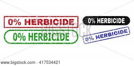 0 Percent Herbicide Grunge Seals. Flat Vector Grunge Seals With 0 Percent Herbicide Slogan Inside Di