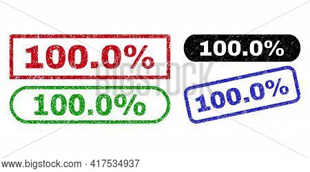 100.0 Percent Grunge Seal Stamps. Flat Vector Grunge Stamps With 100.0 Percent Message Inside Differ