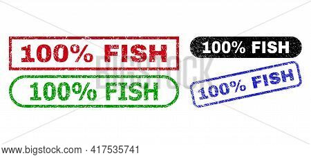 100 Percent Fish Grunge Seals. Flat Vector Grunge Watermarks With 100 Percent Fish Caption Inside Di