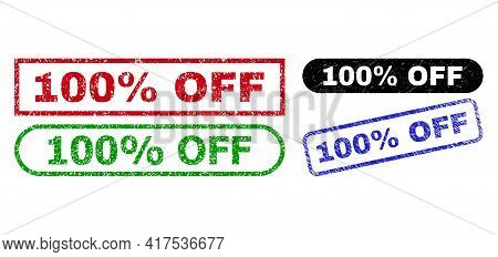 100 Percent Off Grunge Watermarks. Flat Vector Grunge Watermarks With 100 Percent Off Phrase Inside