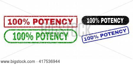 100 Percent Potency Grunge Seal Stamps. Flat Vector Scratched Seal Stamps With 100 Percent Potency T