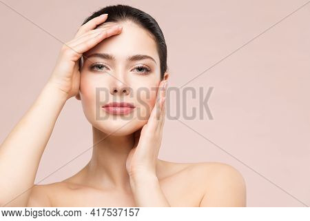 Woman Beauty Healthy Skin Face Portrait. Hand Touching Clean Perfect Face. Fresh Skin Care And Beaut