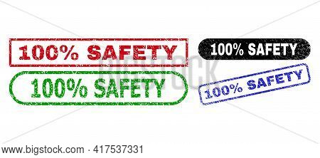 100 Percent Safety Grunge Seals. Flat Vector Grunge Seals With 100 Percent Safety Phrase Inside Diff