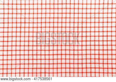 Kitchen Cotton Tablecloth Or Napkin With A Pattern Of Red Squares On A White Background.
