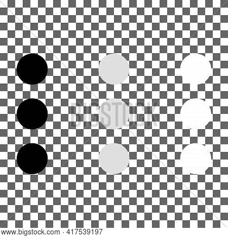 Attach Or Add A File Element Black, White, Grey Icon. Three Points Or Circles. Trendy Flat Isolated