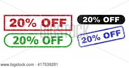 20 Percent Off Grunge Stamps. Flat Vector Distress Seal Stamps With 20 Percent Off Phrase Inside Dif