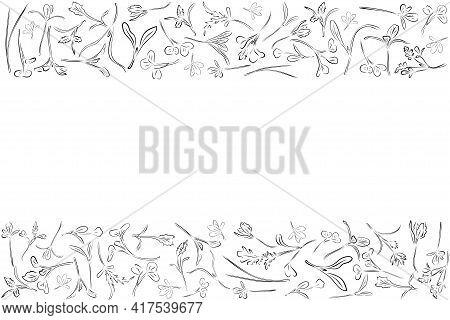 Vector Frame With Black Microgreen. Herbs - Carrots, Chicory, Purslane, Radishes, Beets, Shungiku, C