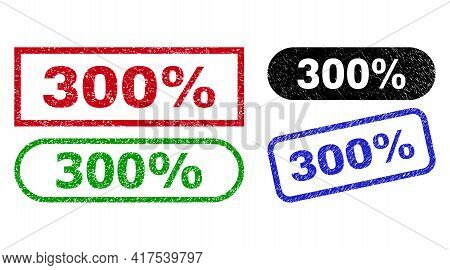 300 Percent Grunge Stamps. Flat Vector Distress Stamps With 300 Percent Phrase Inside Different Rect