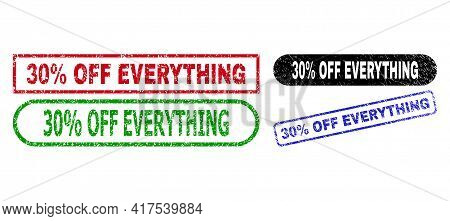 30 Percent Off Everything Grunge Watermarks. Flat Vector Scratched Watermarks With 30 Percent Off Ev