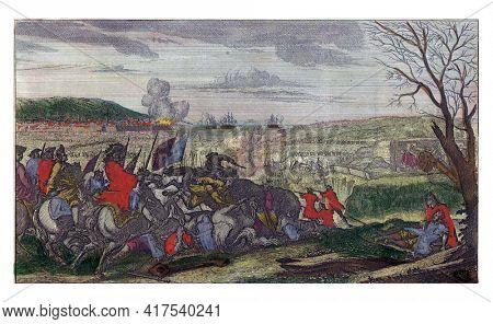 Death of King Charles XII, vintage engraving.
