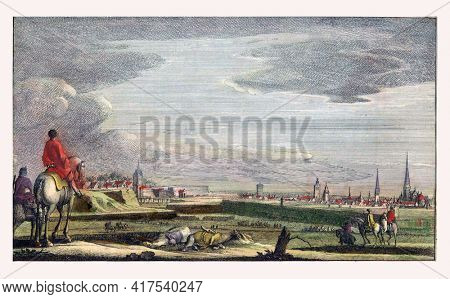 Cambrai taken by the French, vintage engraving.