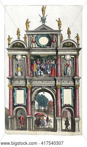 Triumphal Gate at St. Michael's Church, December 1599, vintage engraving.