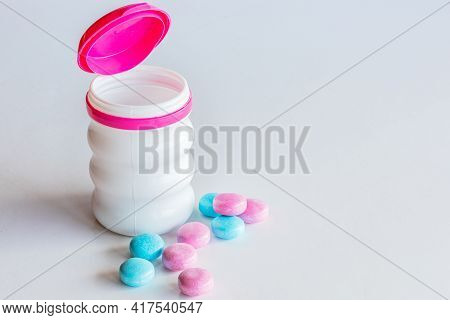 Chewing Gum Mentos Without Sugar. On White Background. Selective Focus. Space For Text