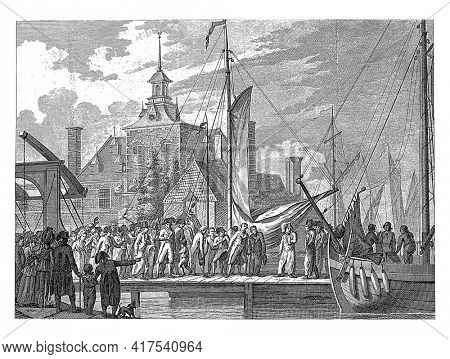 Arrival of the wounded Prince Willem George Frederik in Rotterdam, vintage engraving.