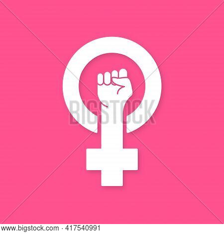 Feminism Protest Symbol. White Female First, Women Rights. Symbol Of Feminism Movement. Girl Power S