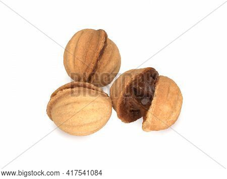 Three Sandy Cookies Isolated On The White Background, Sandy Nuts