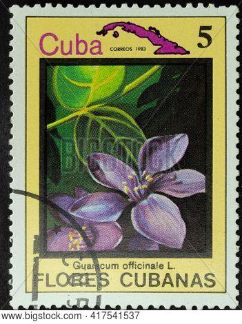 Republic Of Cuba - Circa 1983: Postage Stamp Of 'guaiacum Officinale' Printed In Republic Of Cuba. S