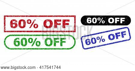 60 Percent Off Grunge Seal Stamps. Flat Vector Grunge Seal Stamps With 60 Percent Off Caption Inside