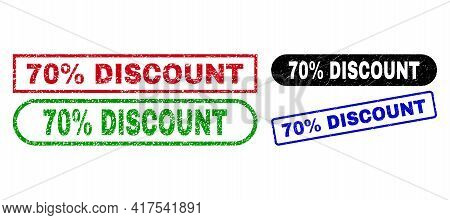 70 Percent Discount Grunge Seal Stamps. Flat Vector Textured Seal Stamps With 70 Percent Discount Te