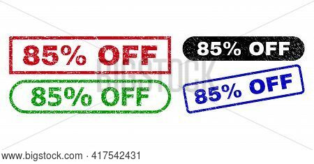 85 Percent Off Grunge Seals. Flat Vector Grunge Seals With 85 Percent Off Tag Inside Different Recta