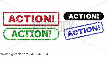 Action Exclamation. Grunge Seal Stamps. Flat Vector Distress Seal Stamps With Action Exclamation. Me