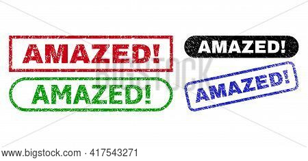 Amazed Exclamation. Grunge Stamps. Flat Vector Distress Seal Stamps With Amazed Exclamation. Message