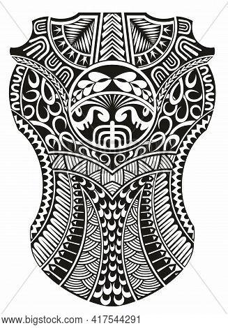 Maori Ethnic Style Shoulder And Sleeve Tattoo Design