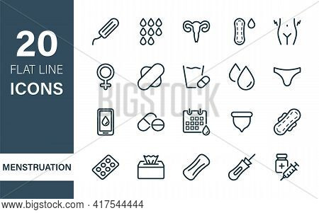 Woman Menstruation Cycle Icons Collection. Sanitary Pad And Periods Of Menstruation Line Flat Icons