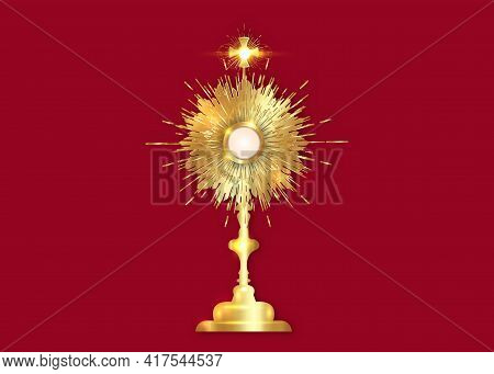 Monstrance Gold Ostensorium Used In Roman Catholic, Old Catholic And Anglican Ceremony Traditions. B