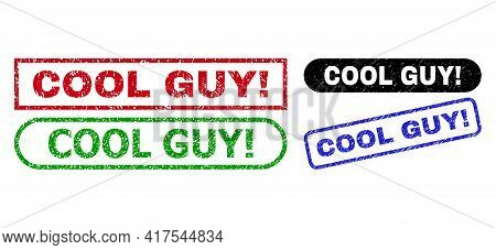 Cool Guy Exclamation. Grunge Seal Stamps. Flat Vector Grunge Stamps With Cool Guy Exclamation. Capti