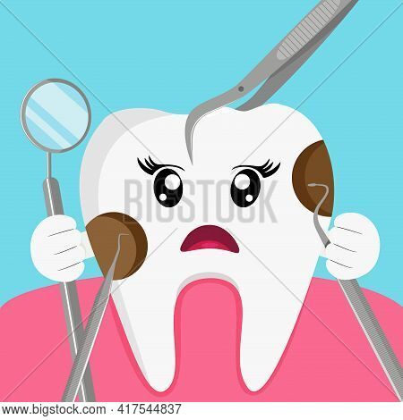 Cartoon Tooth Decay. Dental Problem Vector Illustration.