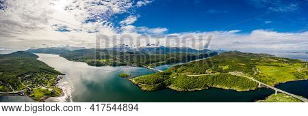 Panorama Beautiful Nature Norway natural landscape. Whirlpools of the maelstrom of Saltstraumen, Nordland, Norway