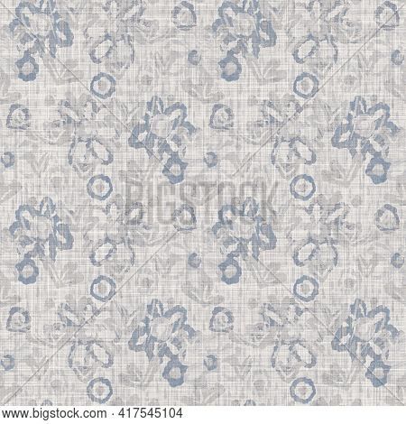 Seamless French Farmhouse Floral Linen Printed Background. Provence Blue Gray Pattern Texture. Shabb