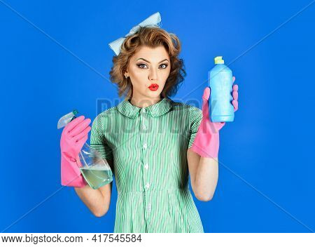 Housewife, Isolated. Woman Housekeeper In Uniform With Clean Spray, Sponge. Cleanup, Cleaning Servic