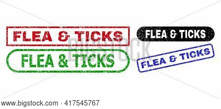 Flea And Ticks Grunge Seal Stamps. Flat Vector Grunge Seal Stamps With Flea And Ticks Message Inside