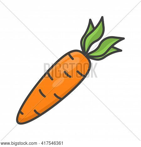 Carrot Icon. A Simple Multi-colored And Three-dimensional Image Of A Carrot Fruit. Isolated Vector I
