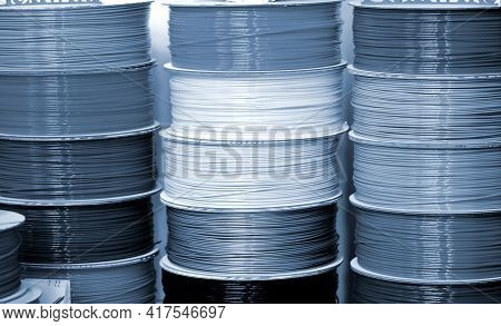 Reels Of Plastic For 3d Printer Close-up. Reels Of Filament Wire For 3d Printer